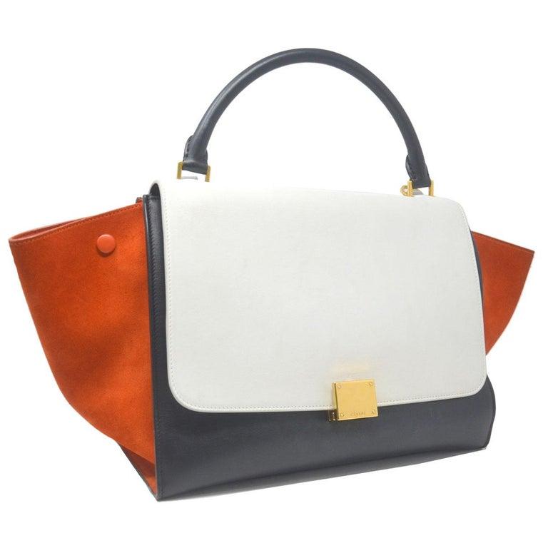 Celine Trapeze Medium Tri-Color Suede and Leather Handbag For Sale 3