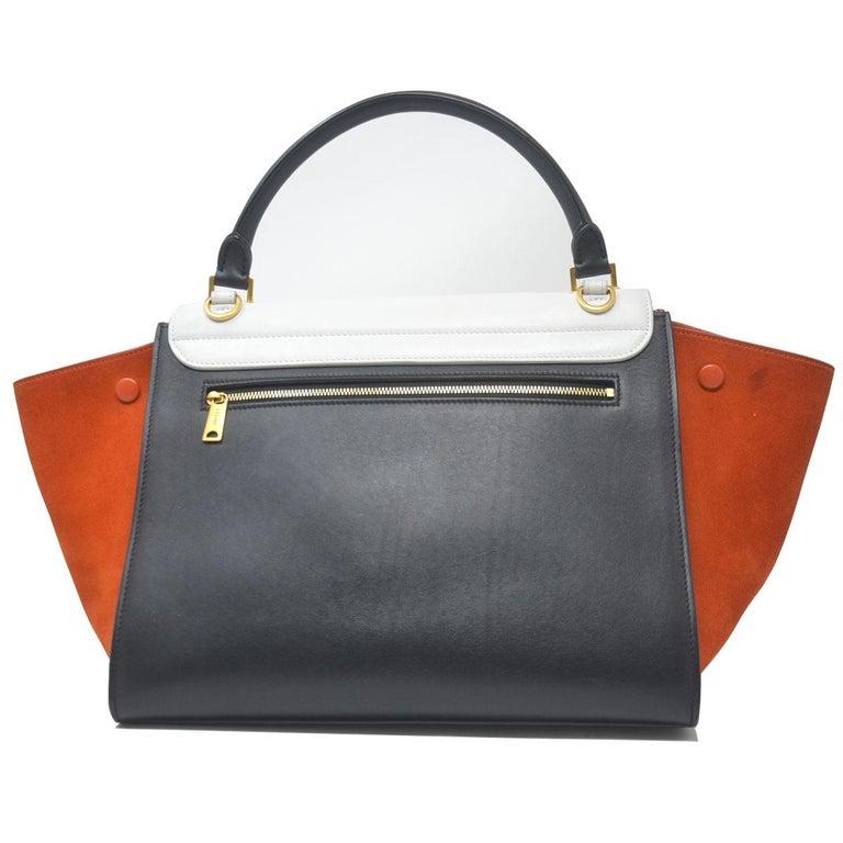 Women's Celine Trapeze Medium Tri-Color Suede and Leather Handbag For Sale