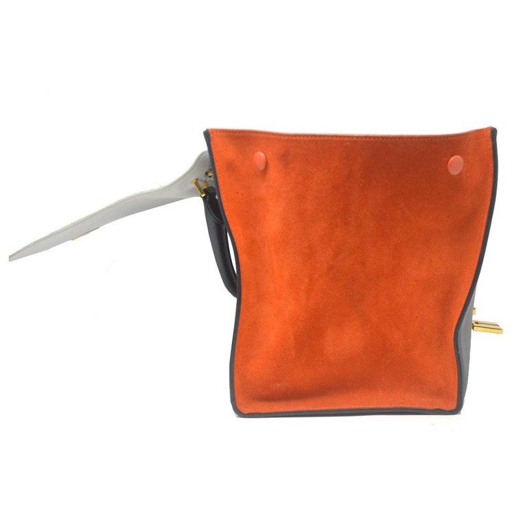 Black Celine Trapeze Medium Tri-Color Suede and Leather Handbag For Sale