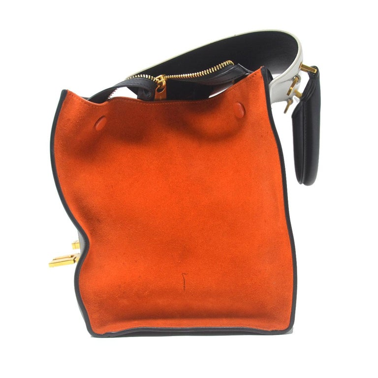 Company-Celine Model-Trapeze Medium  Color-Tri Color White Black and Orange  Date Code-S-AT-4184 S-CU-5104 Material-Leather and Suede  Measurements-11.75