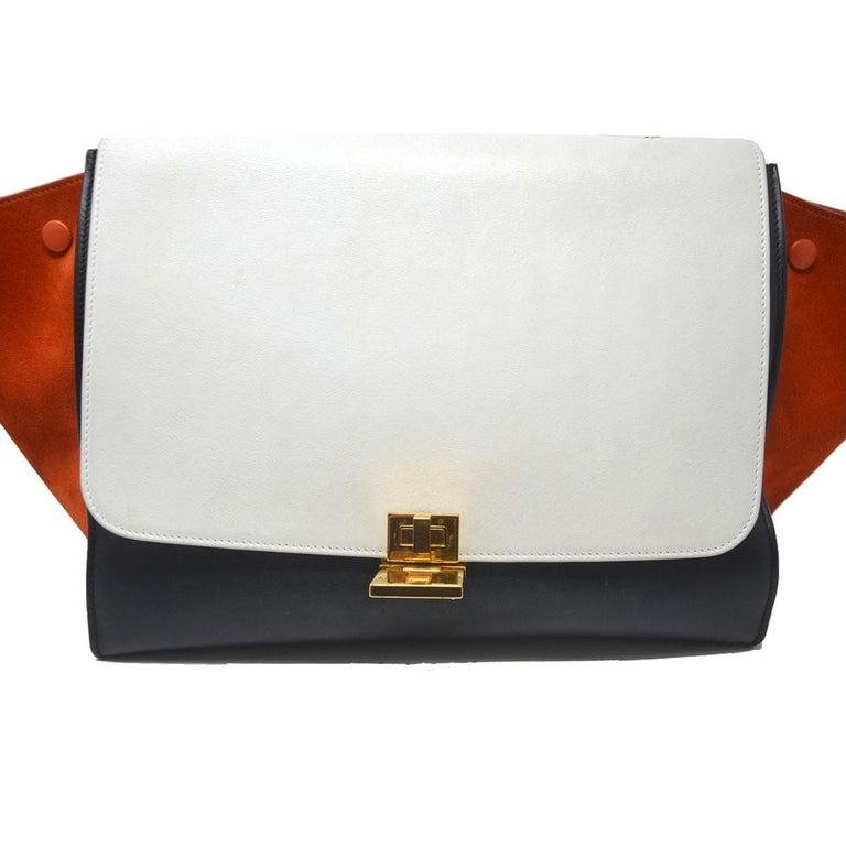 Celine Trapeze Medium Tri-Color Suede and Leather Handbag For Sale 4