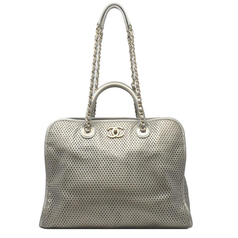 17e27f84ca31 Chanel Gray Metallic GHW Perforated Leather Tote Handbag With Card For Sale
