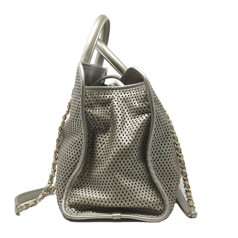 f15f369933b1 Women s Chanel Gray Metallic GHW Perforated Leather Tote Handbag With Card  For Sale
