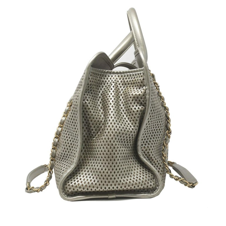 46ab64057e5a Chanel Gray Metallic GHW Perforated Leather Tote Handbag With Card For Sale  1