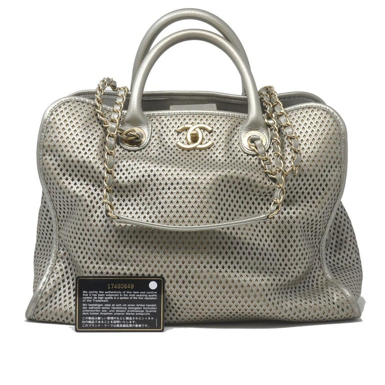 ee2f7dfe37bc Chanel Gray Metallic GHW Perforated Leather Tote Handbag With Card For Sale  3
