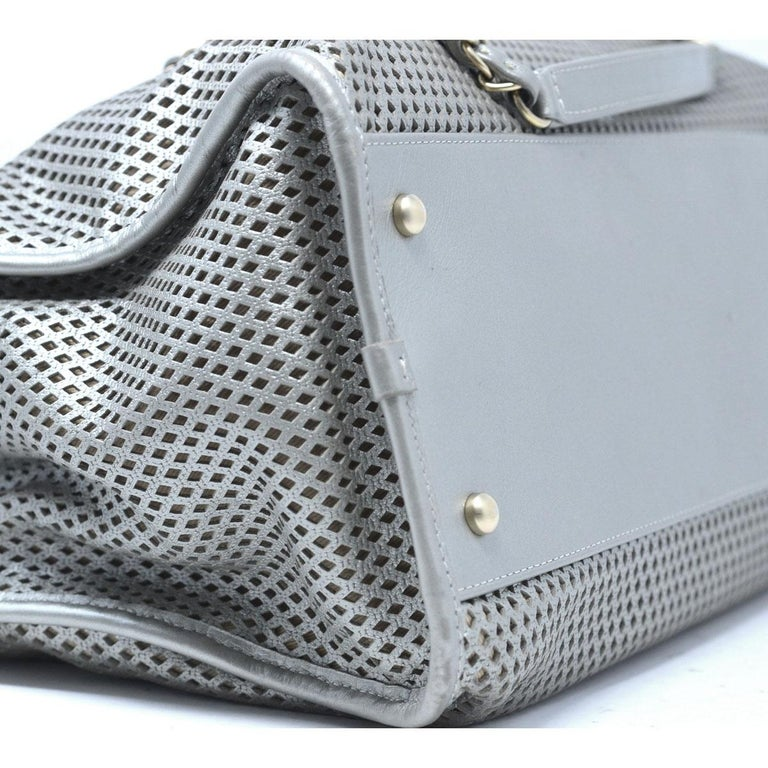 033f2cb9676f Chanel Gray Metallic GHW Perforated Leather Tote Handbag With Card For Sale  6