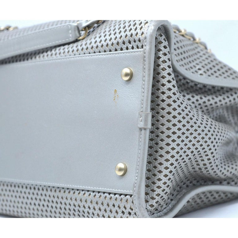 8ca1a75e33e2 Chanel Gray Metallic GHW Perforated Leather Tote Handbag With Card For Sale  7