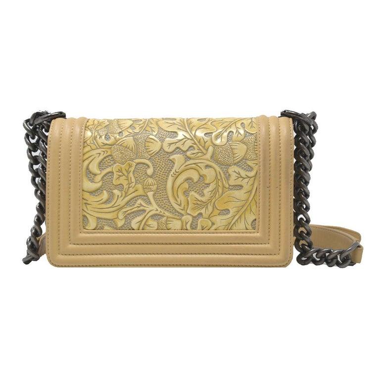 bf8deed4dc02 Chanel Small Beige Cordoba Dallas Flap Boy Bag Handbag In Good Condition  For Sale In Boca