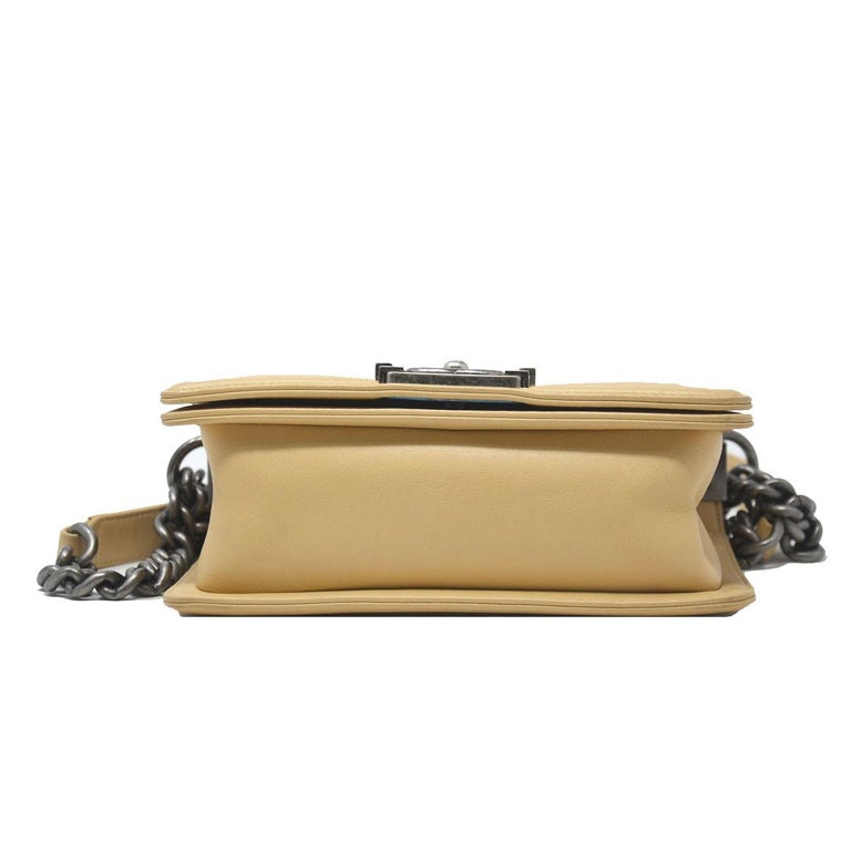 47c9ad6662e5 Chanel Small Beige Cordoba Dallas Flap Boy Bag Handbag For Sale 2