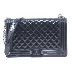Chanel Le Boy Bag SHW Black Jumbo Patent Leather