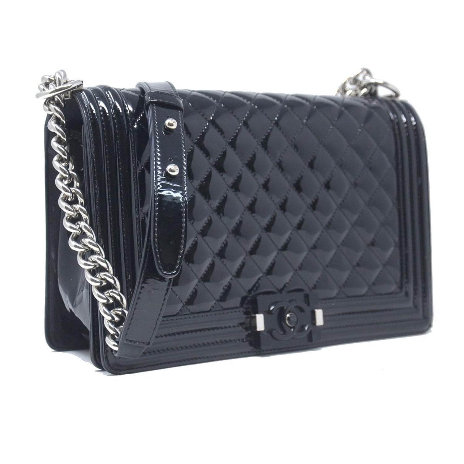 0add8c54427968 Chanel Le Boy Bag SHW Black Jumbo Patent Leather For Sale at 1stdibs