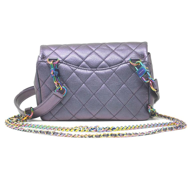 7eb10f122288 Gray Chanel Iridescent Quilted Small Double Carry Waist Chain Flap Purple  Handbag For Sale