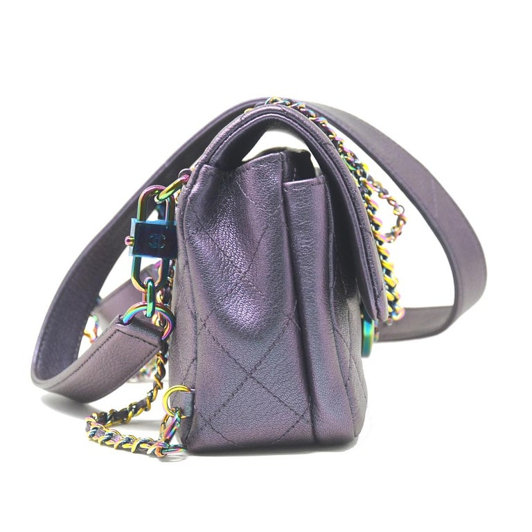 451fd9d8e2fd Chanel Iridescent Quilted Small Double Carry Waist Chain Flap Purple  Handbag In Good Condition For Sale