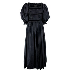 Couture Louis Feraud black taffeta evening gown. Circa 1970