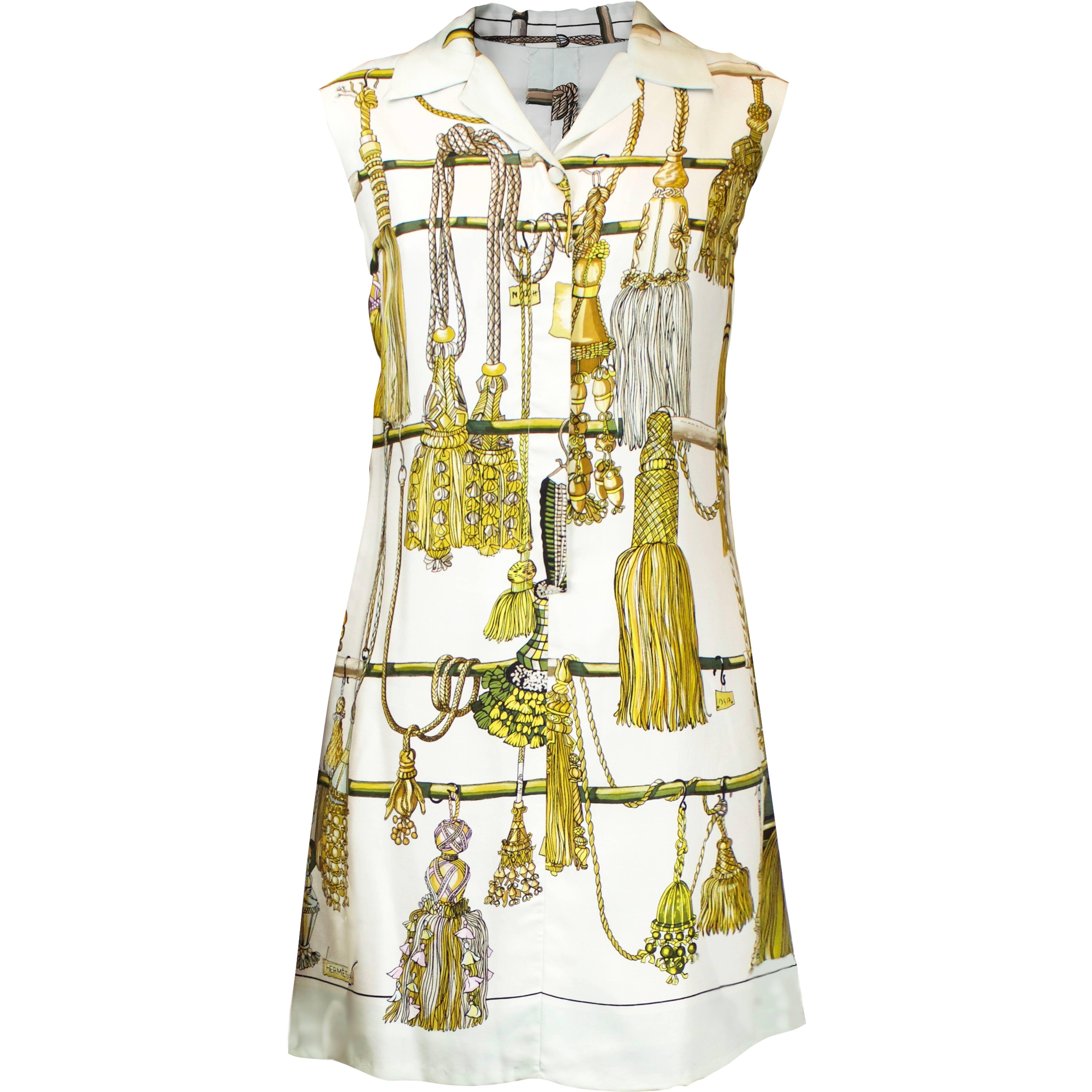 Hermès silk print mini dress. circa 1960