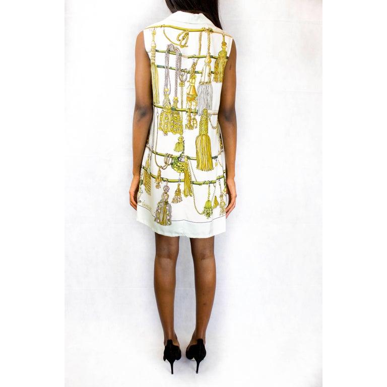 Beige Hermès silk print mini dress. circa 1960