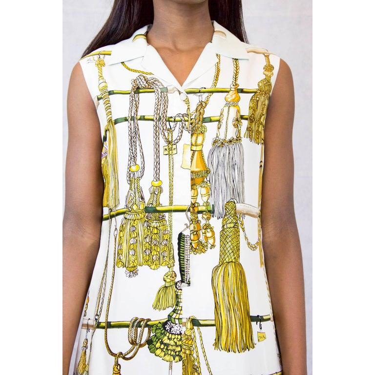Hermès silk print mini dress. circa 1960 In Excellent Condition In London, GB