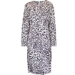 Yves Saint Laurent black and white animal print dress. Circa. 1990