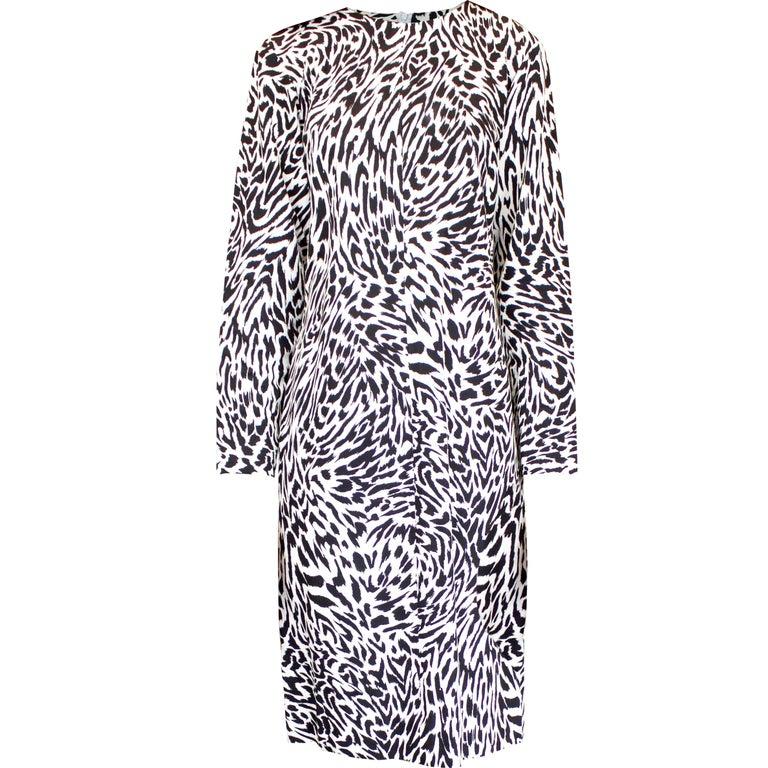 Yves Saint Laurent black and white animal print dress. Circa. 1990