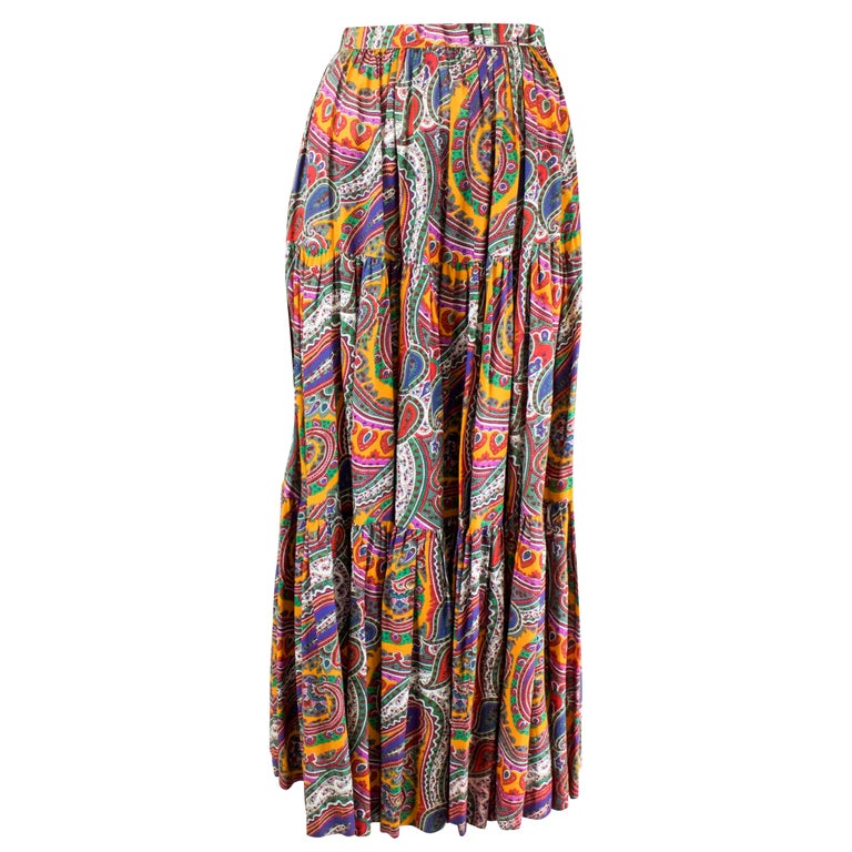 Yves Saint Laurent long layered Paisley gypsy skirt, Fall Winter 1976