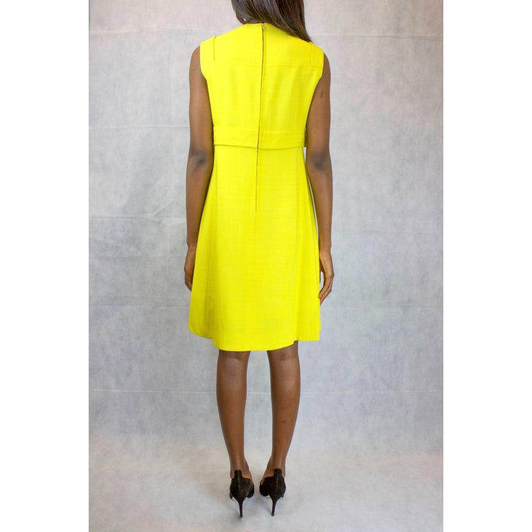 Yellow Ted Lapidus made to measure couture finished yellow linen dress, circa 1960 For Sale