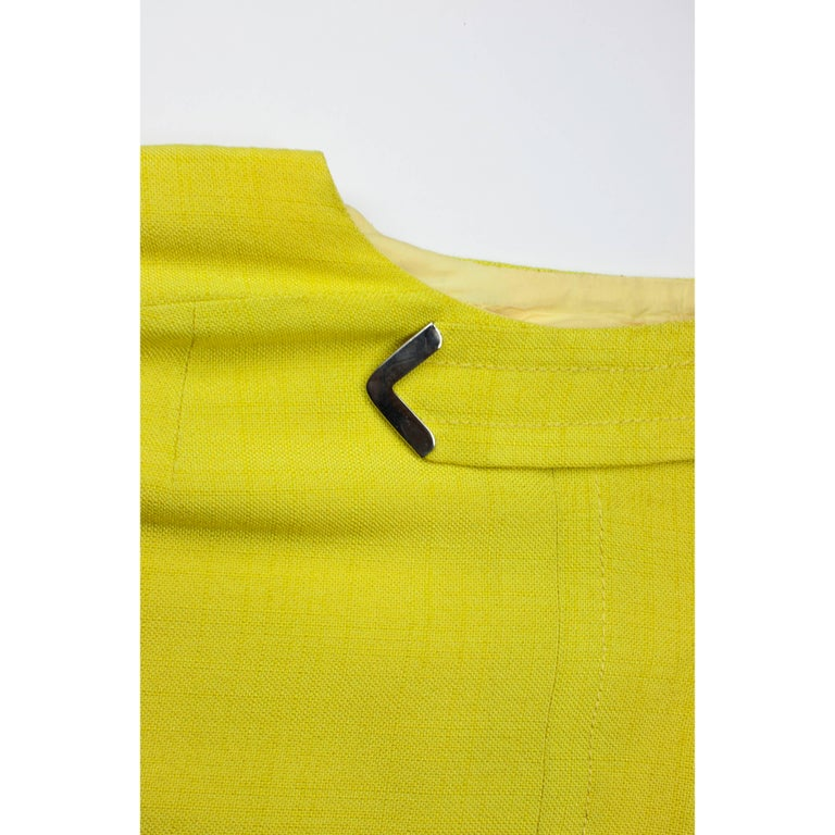 Women's Ted Lapidus made to measure couture finished yellow linen dress, circa 1960 For Sale