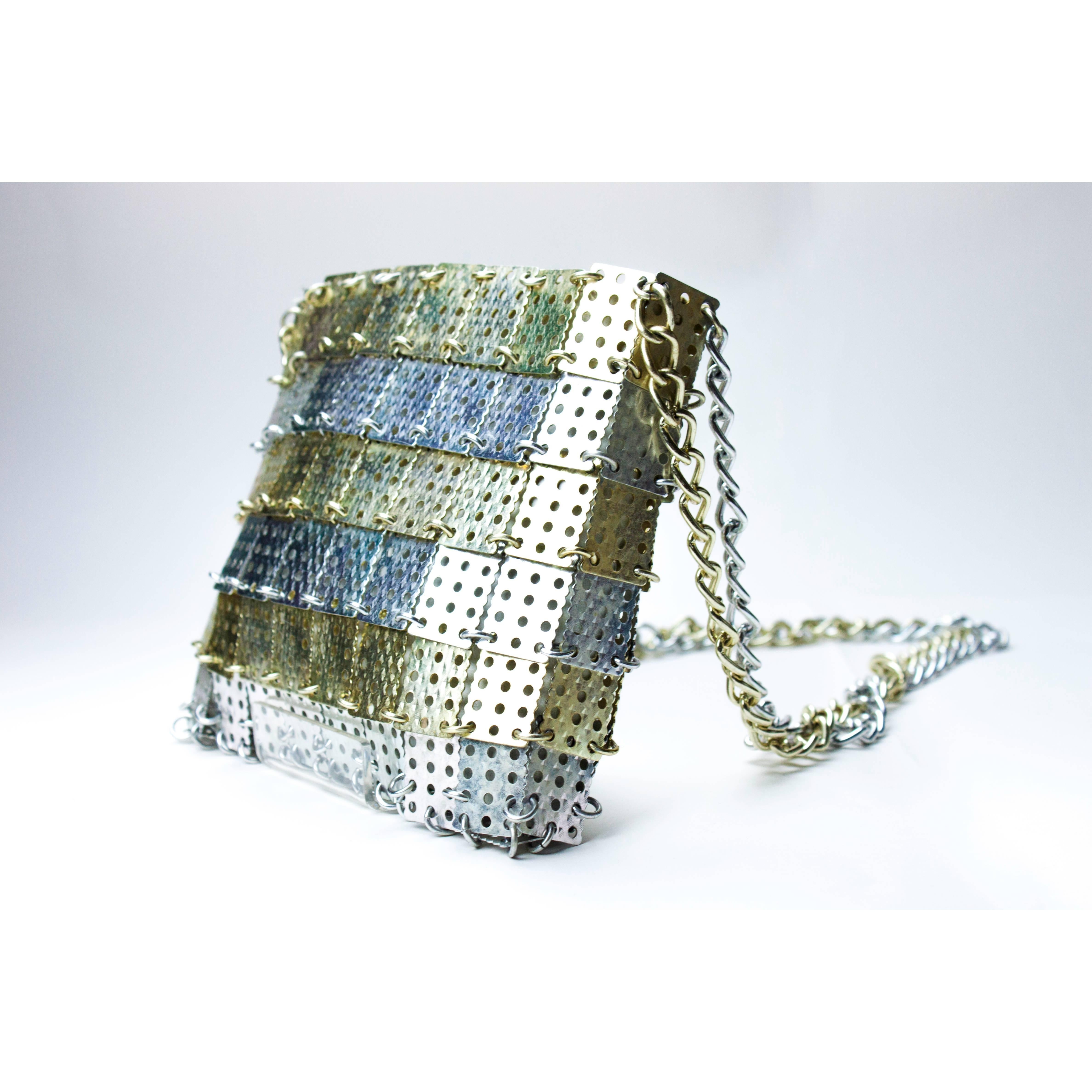 Paco Rabanne For Walberg Gold And Silver Discs Bag, Circa 1960