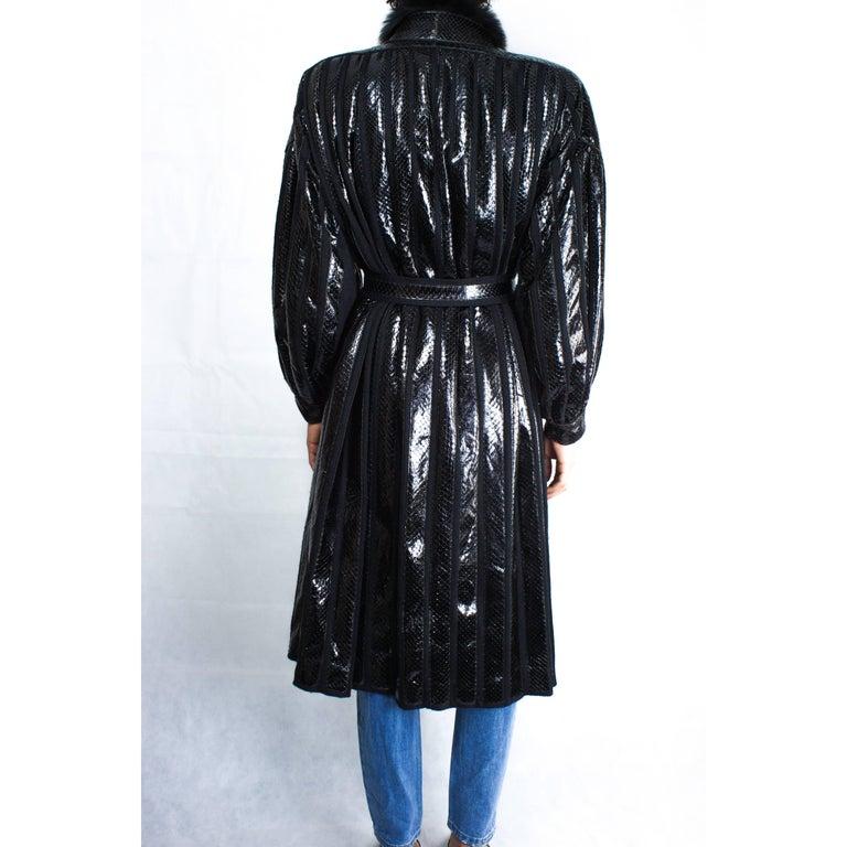 Beltrami silk wool and snakeskin bouffant sleeves coat, circa 1980 3