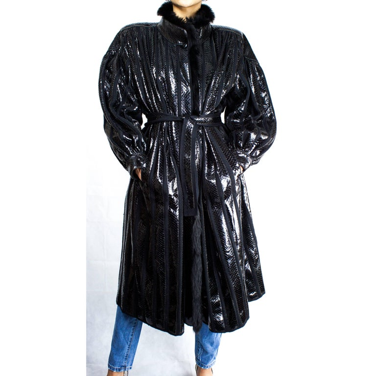 Beltrami silk wool and snakeskin bouffant sleeves coat, circa 1980 2
