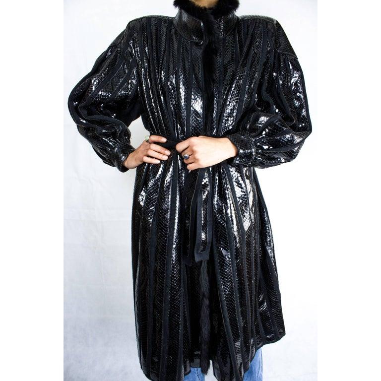 Beltrami silk wool and snakeskin bouffant sleeves coat, circa 1980 7