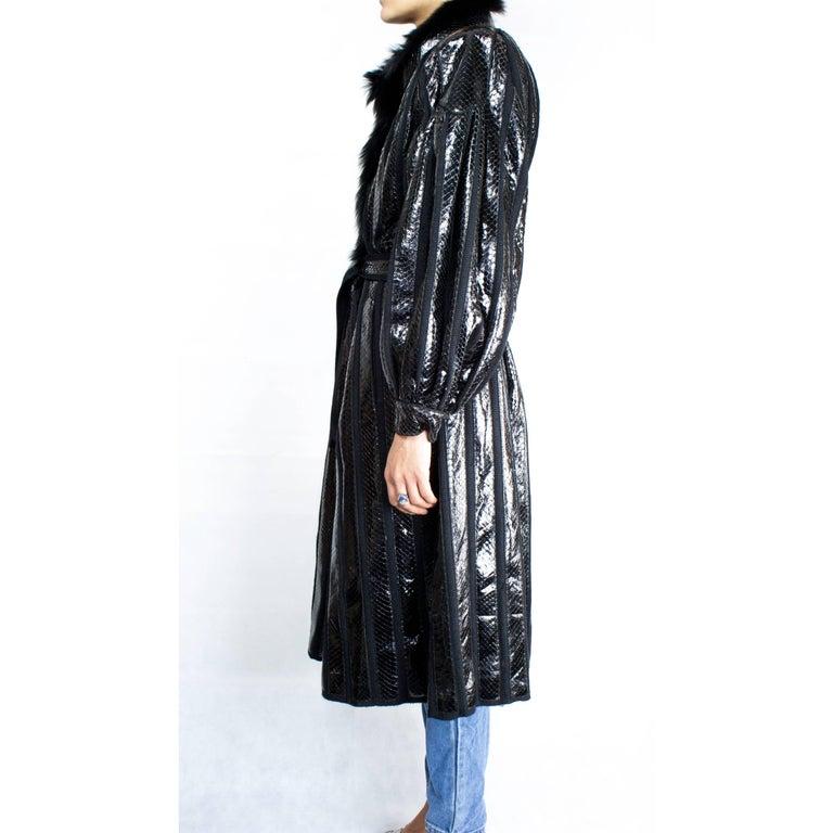 Beltrami silk wool and snakeskin bouffant sleeves coat, circa 1980 5