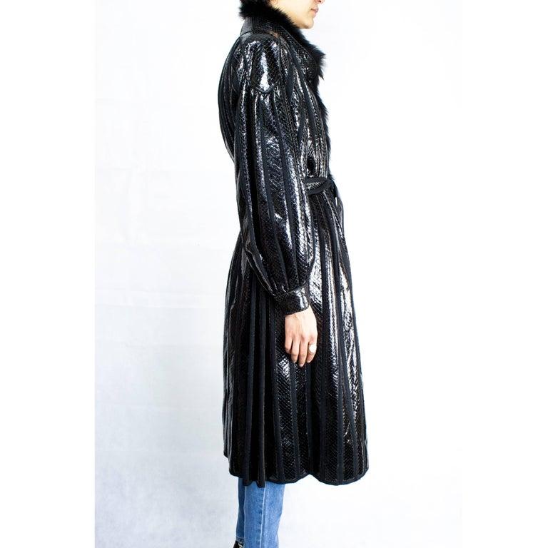 Beltrami silk wool and snakeskin bouffant sleeves coat, circa 1980 4