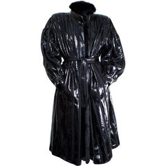 Beltrami silk wool and snakeskin bouffant sleeves coat. circa 1980