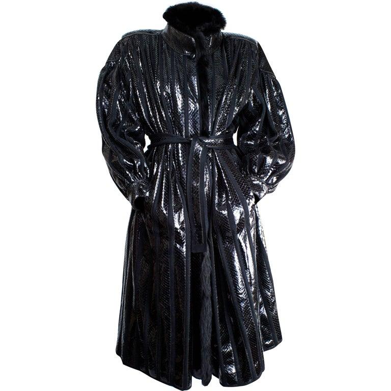 Beltrami silk wool and snakeskin bouffant sleeves coat, circa 1980 1