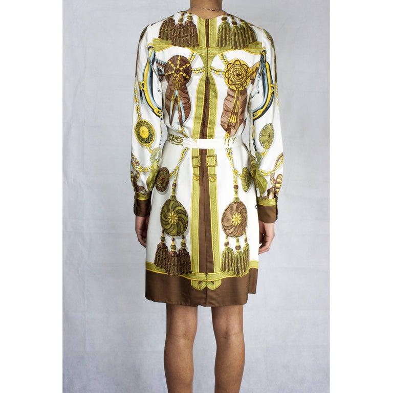 Hèrmes Frontaux et Cocardes Limited edition silk dress, circa 1968 For Sale 1