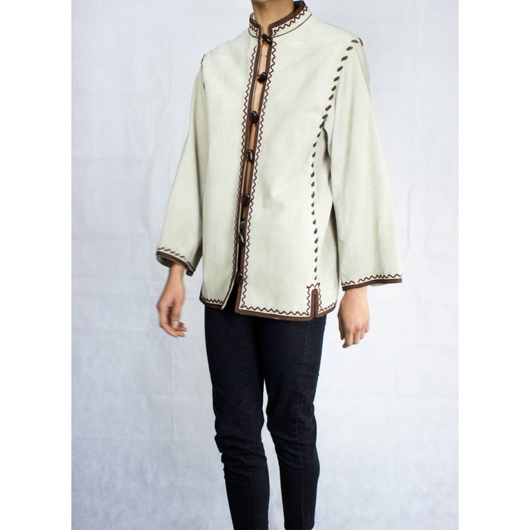 Yves Saint Laurent suede Cossack inspired jacket, circa 1976 For Sale 1