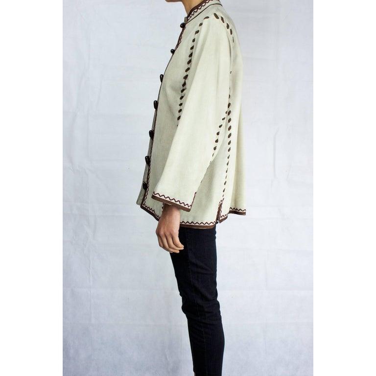 Beige Yves Saint Laurent suede Cossack inspired jacket, circa 1976 For Sale