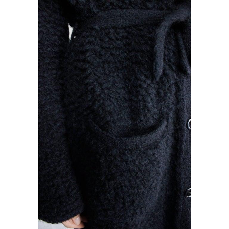 Sonia Rykiel Early knitted black wool coat, circa 1960s 8