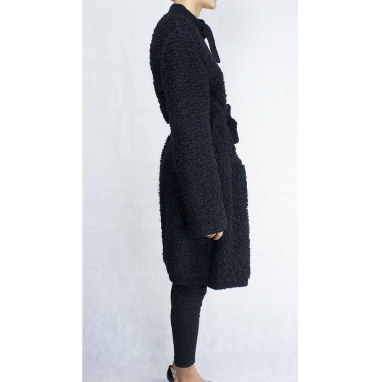 Sonia Rykiel Early knitted black wool coat, circa 1960s 4