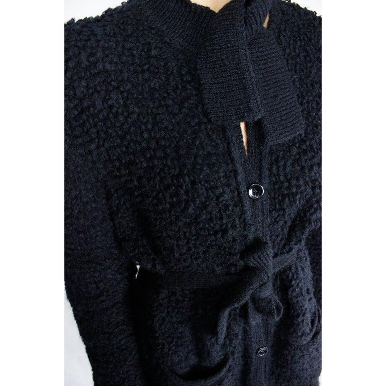 Sonia Rykiel Early knitted black wool coat, circa 1960s 7