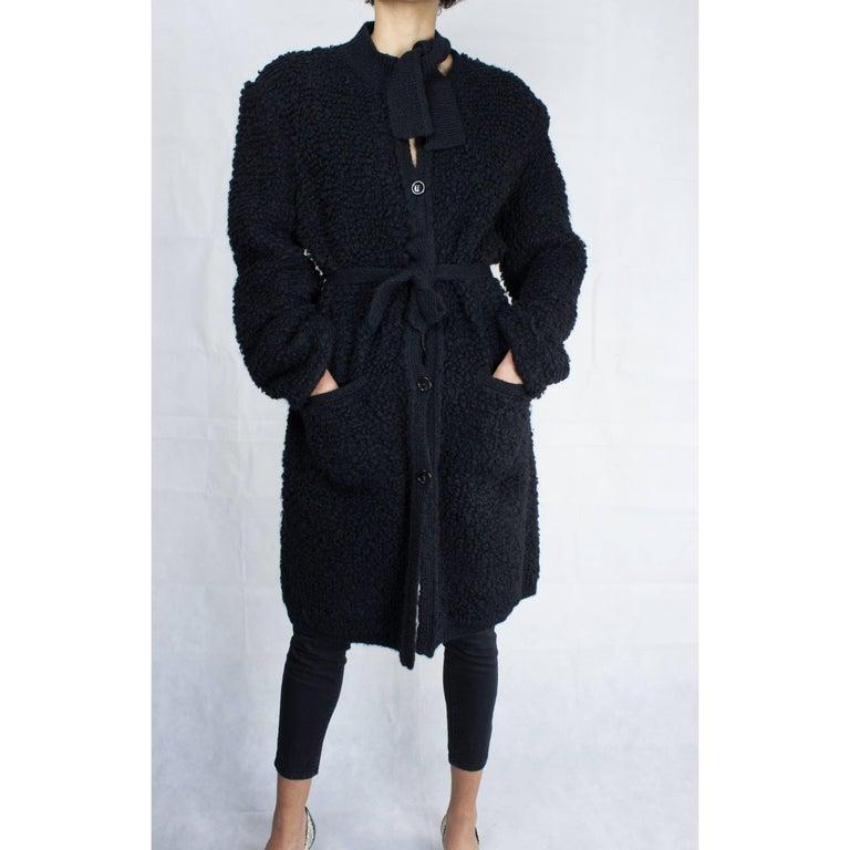 Sonia Rykiel Early knitted black wool coat, circa 1960s 6