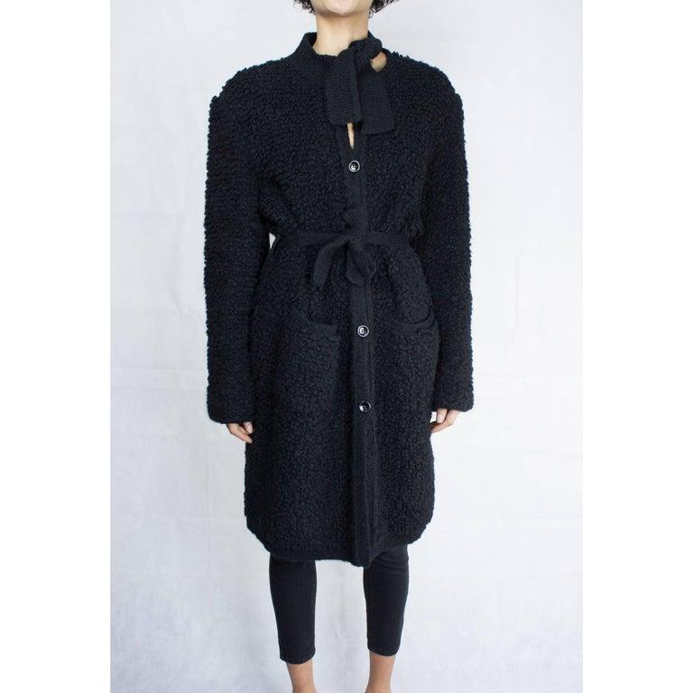 Sonia Rykiel Early knitted black wool coat, circa 1960s 2