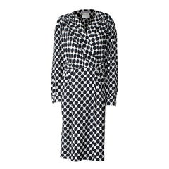 Saint Laurent opt art wraparound embossed silk dress with black dots, circa 1980