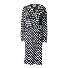 Saint Laurent opt art wraparound embossed silk dress with black dots, circa 1980