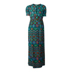 Emanuel Ungaro printed crepe and linen hostess maxi dress. circa 1970