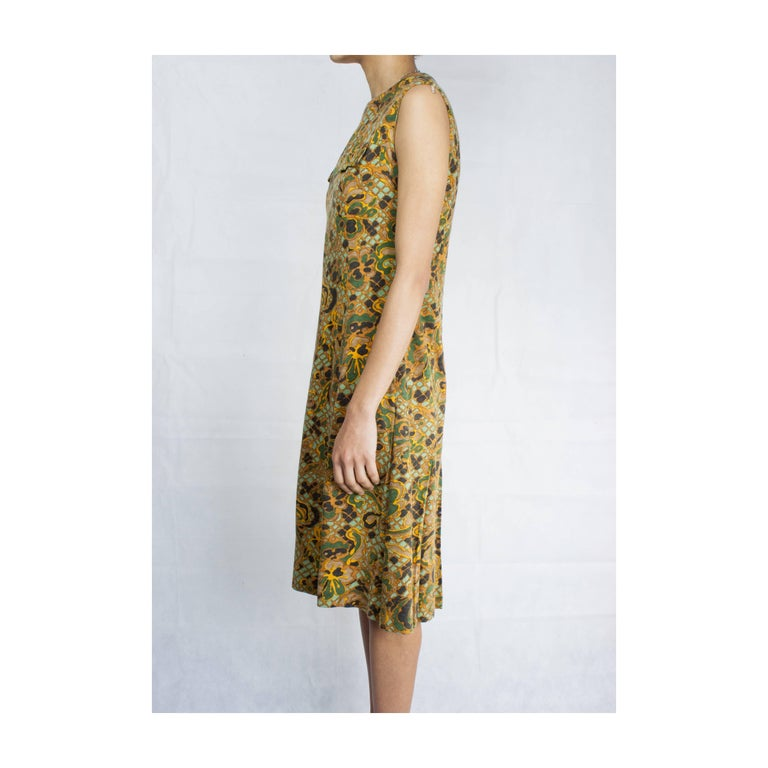 Brown Jean Patou stylised floral motifs brushed wool dress, circa 1960s For Sale