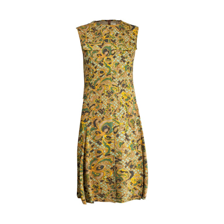 Jean Patou stylised floral motifs brushed wool dress, circa 1960s For Sale