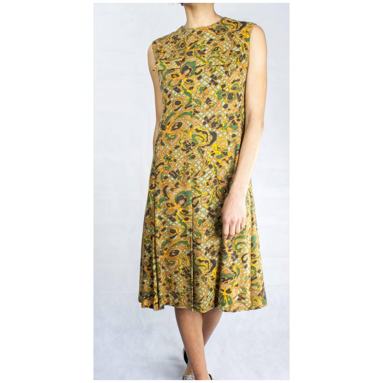 Women's Jean Patou stylised floral motifs brushed wool dress, circa 1960s For Sale