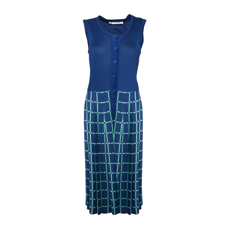 Lanvin navy and turquoise dress, circa 1976