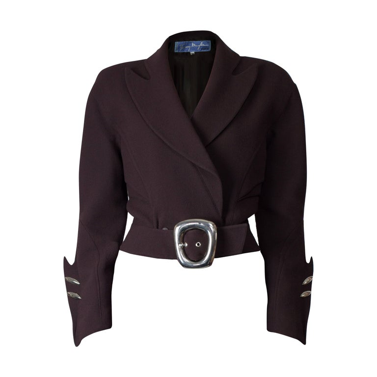 """Thierry Mugler """"Angel"""" sculptural chocolate wool jacket, circa 1979 For Sale"""